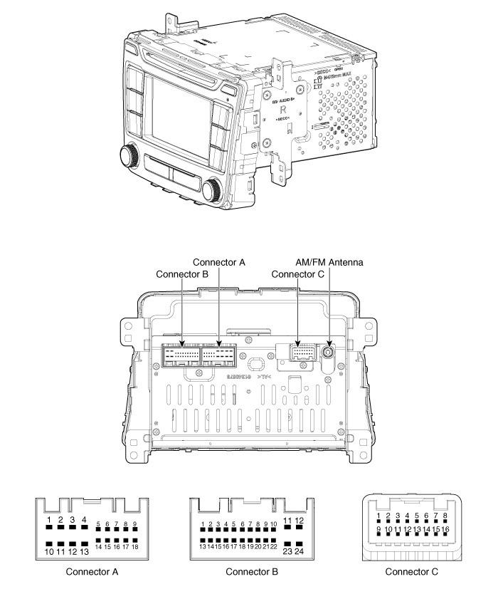 Распиновка штатной магнитолы Хендай Крета с навигацией и камерой заднего вида