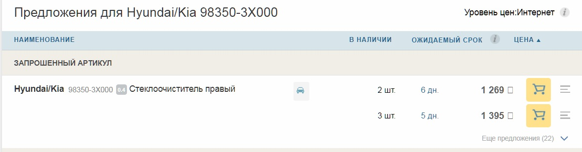 Щетки стеклоочистителя Хендай Крета цена