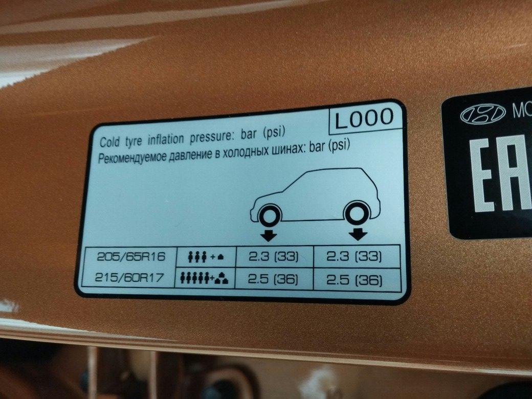 Какое давление в шинах на Хендай Крета?